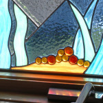 """Stained Glass """"Fish"""" Window closeup"""