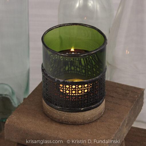 Fundalinski - Wine Candle Holder - green