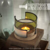 Kris Art Glass - Wine bottle Candle Holder - Green-Frost - L