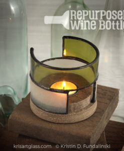 Kris Art Glass - Wine bottle Candle Holder - Green-Frost - L