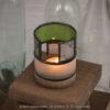 Kris Art Glass - Wine bottle Candle Holder - Green-Frost - S